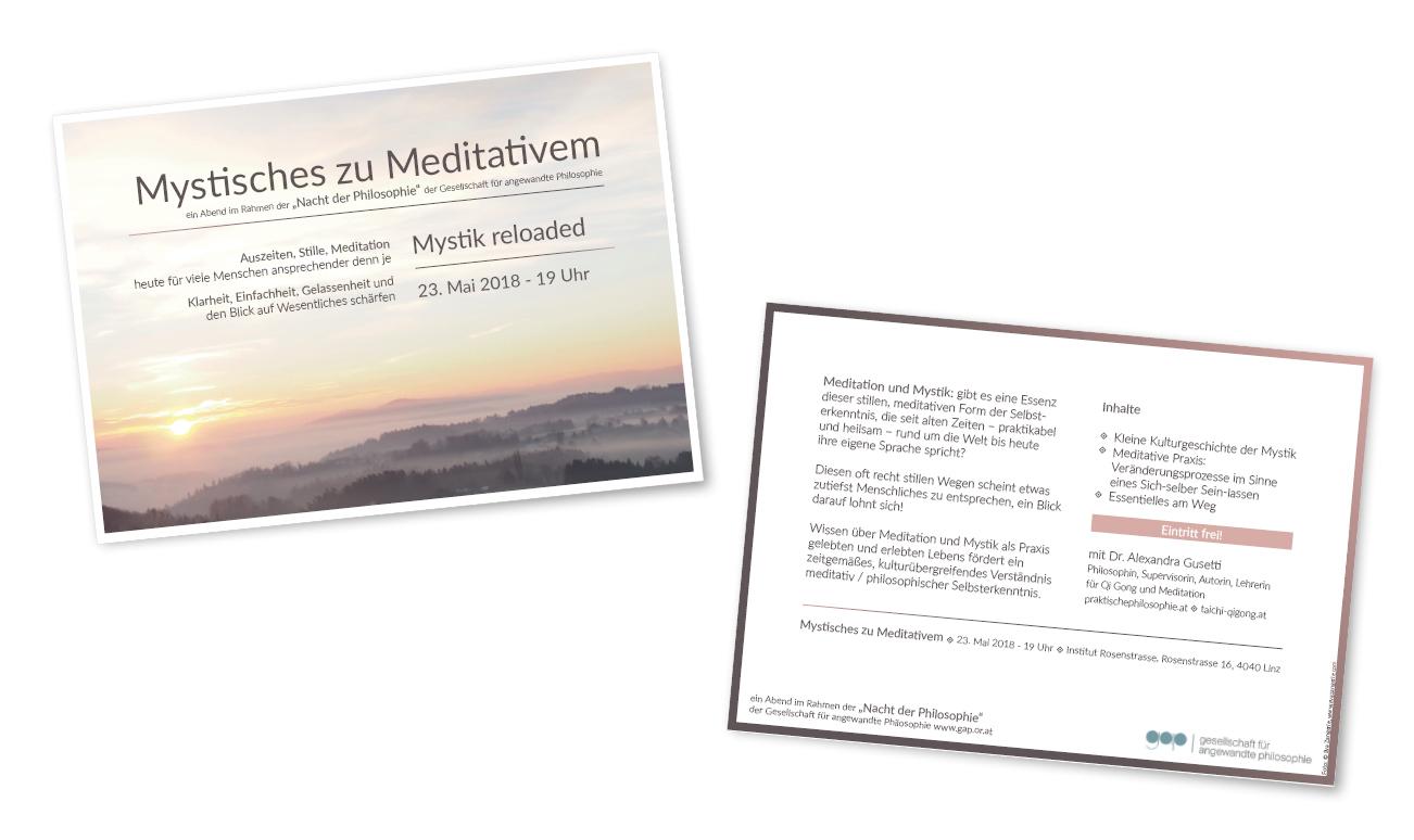 Flyer, DIN A6 für eine Veranstaltung von der gesellschaft für angewandte philosophie und Alexandra Gusetti